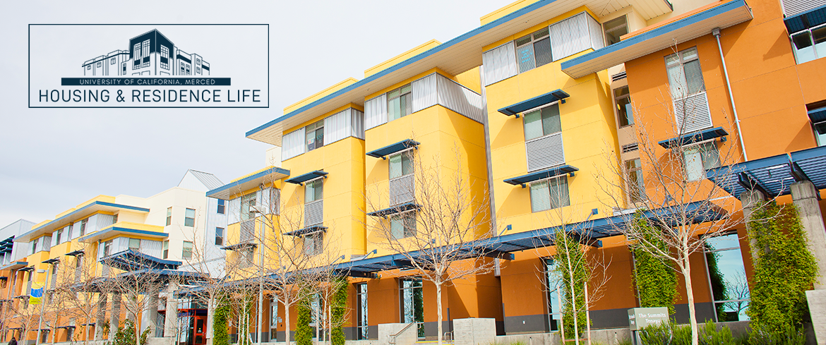View of one of the beautiful uc merced housing buildings along a street